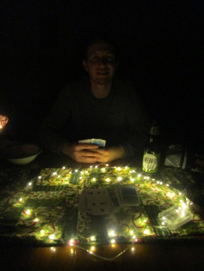 Cards by fairy lights