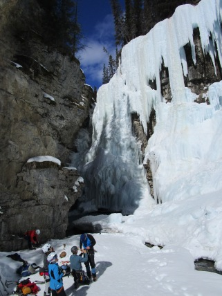 Ice climbers at the canyon