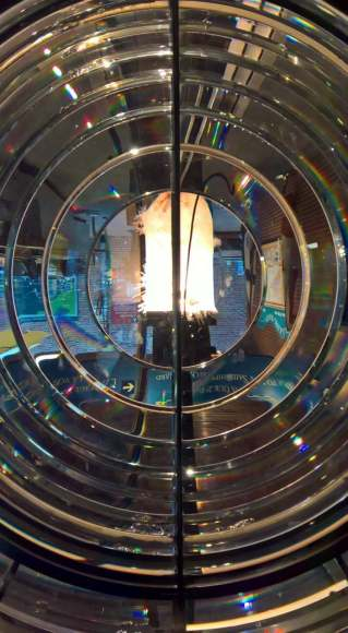 Inside a lighthouse light at the Maritime Museum