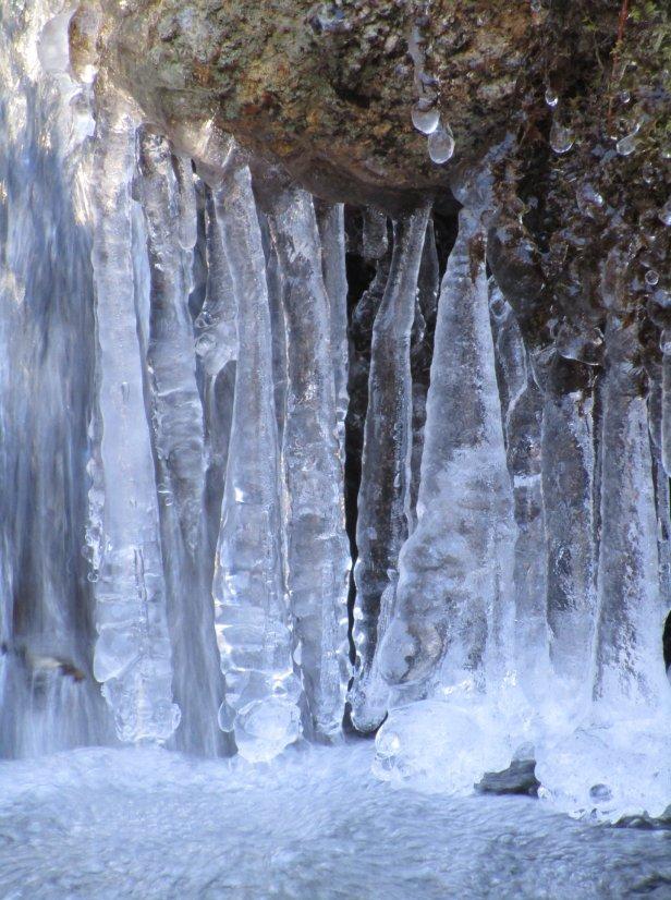Hanging icicles at Pock Wock Falls