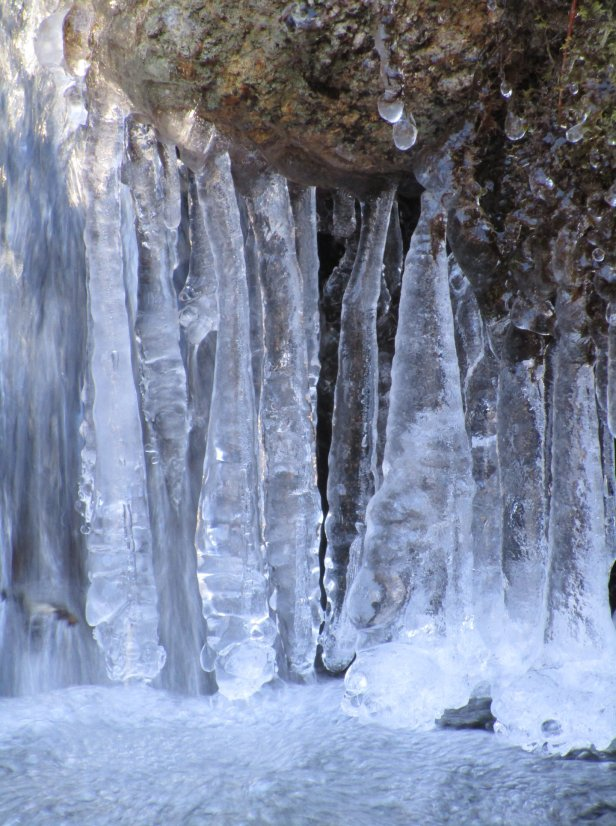 Hanging icicles at Pock Wock Falls