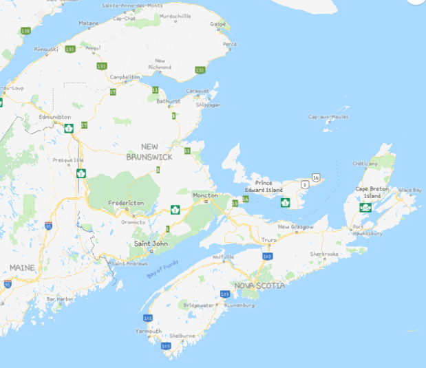 Map of the Maritimes